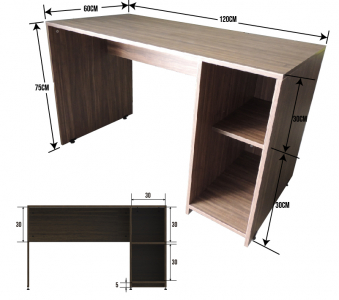 ESCRITORIO HOME OFFICE 120 x 60 CON 2 REPISAS